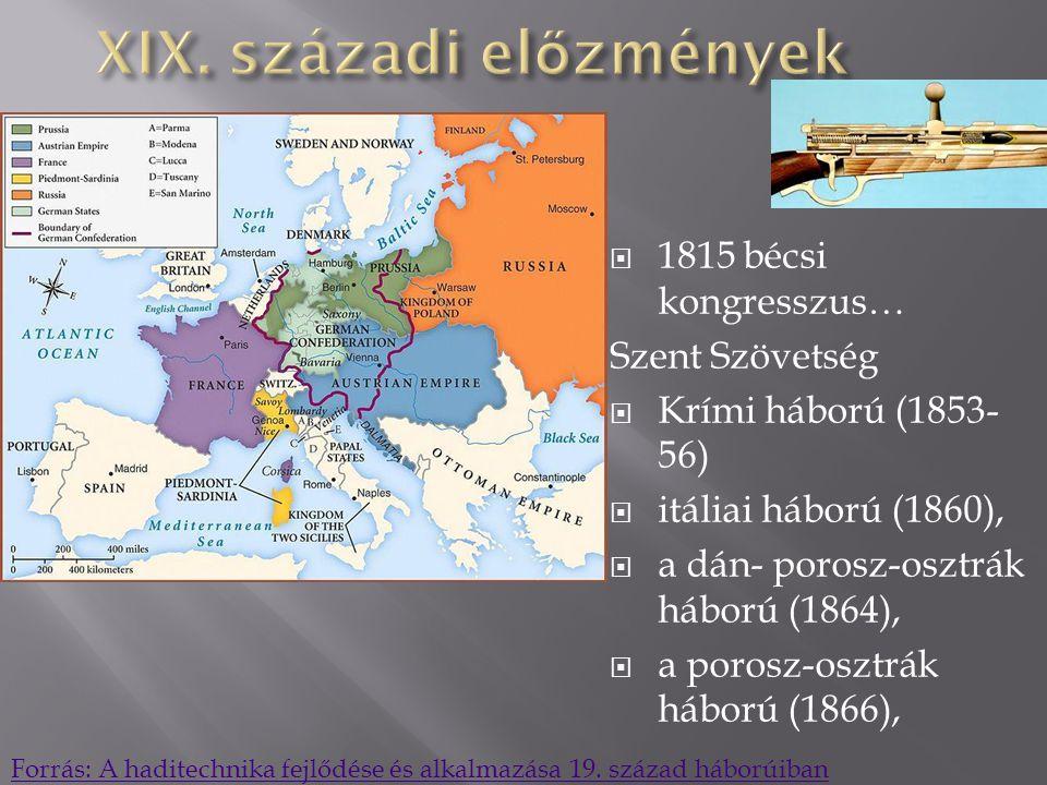  1815 bécsi kongresszus… Szent Szövetség  Krími háború (1853- 56)  itáliai háború (1860),  a dán- porosz-osztrák háború (1864),  a porosz-osztrák háború (1866), Forrás: A haditechnika fejlődése és alkalmazása 19.