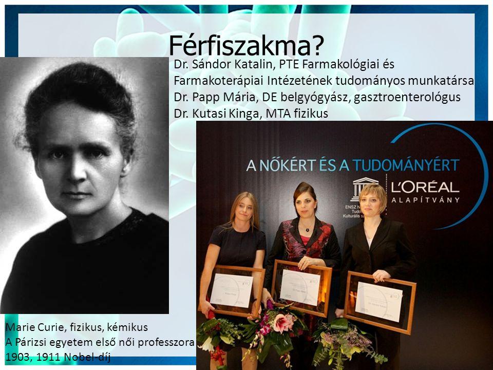 Férfiszakma? Marie Curie, fizikus, kémikus A Párizsi egyetem első női professzora 1903, 1911 Nobel-díj Dr. Sándor Katalin, PTE Farmakológiai és Farmak