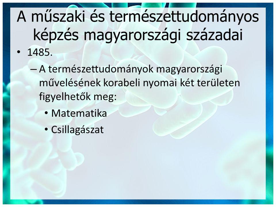 A műszaki és természettudományos képzés magyarországi századai • 1485. – A természettudományok magyarországi művelésének korabeli nyomai két területen