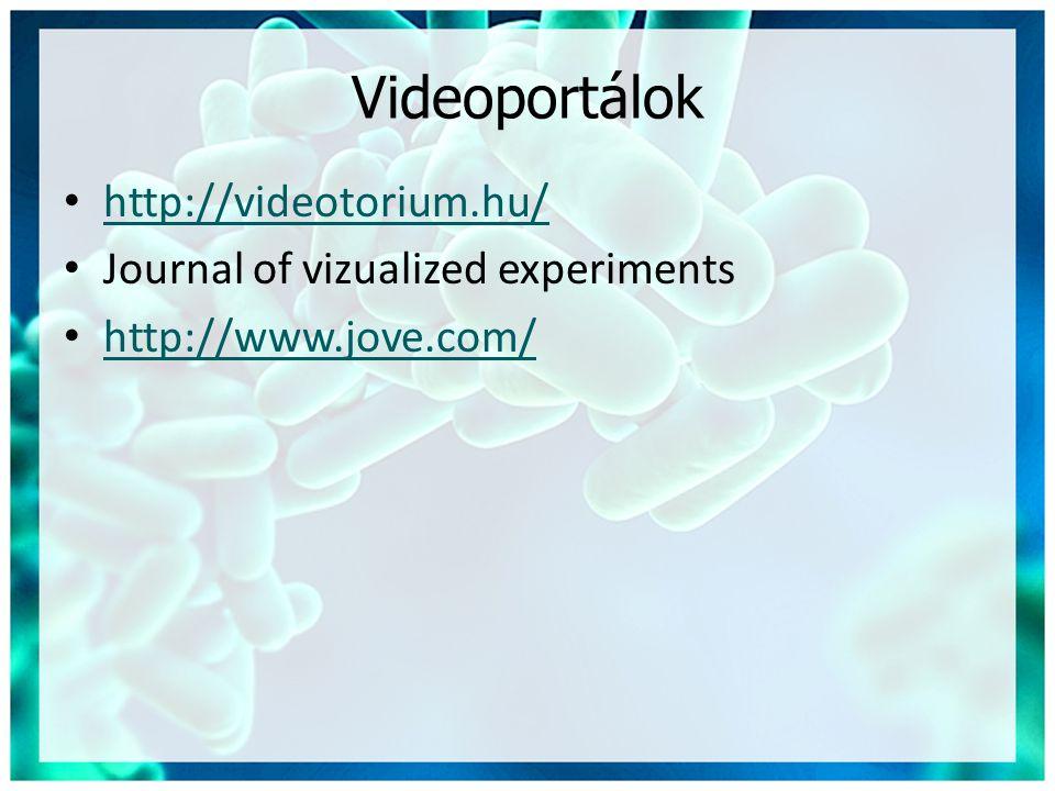Videoportálok • http://videotorium.hu/ http://videotorium.hu/ • Journal of vizualized experiments • http://www.jove.com/ http://www.jove.com/