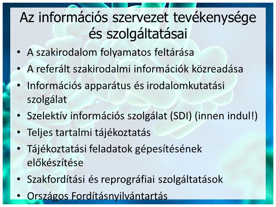 Az információs szervezet tevékenysége és szolgáltatásai • A szakirodalom folyamatos feltárása • A referált szakirodalmi információk közreadása • Információs apparátus és irodalomkutatási szolgálat • Szelektív információs szolgálat (SDI) (innen indul!) • Teljes tartalmi tájékoztatás • Tájékoztatási feladatok gépesítésének előkészítése • Szakfordítási és reprográfiai szolgáltatások • Országos Fordításnyilvántartás
