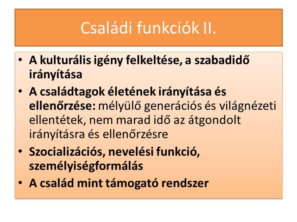 Családi funkciók II. • A kulturális igény felkeltése, a szabadidő irányítása • A családtagok életének irányítása és ellenőrzése: mélyülő generációs és
