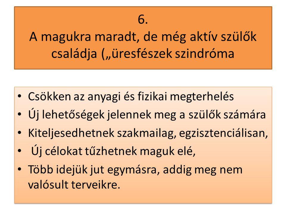 """6. A magukra maradt, de még aktív szülők családja (""""üresfészek szindróma • Csökken az anyagi és fizikai megterhelés • Új lehetőségek jelennek meg a sz"""