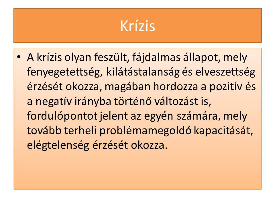 Krízis • A krízis olyan feszült, fájdalmas állapot, mely fenyegetettség, kilátástalanság és elveszettség érzését okozza, magában hordozza a pozitív és