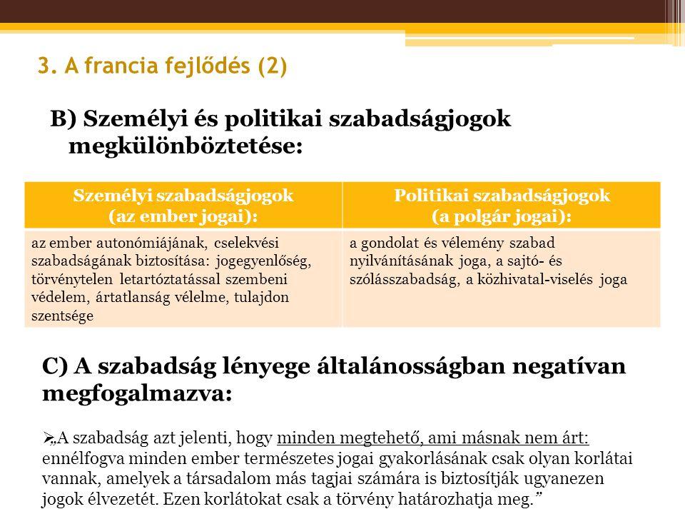 B) Személyi és politikai szabadságjogok megkülönböztetése: 3. A francia fejlődés (2) Személyi szabadságjogok (az ember jogai): Politikai szabadságjogo