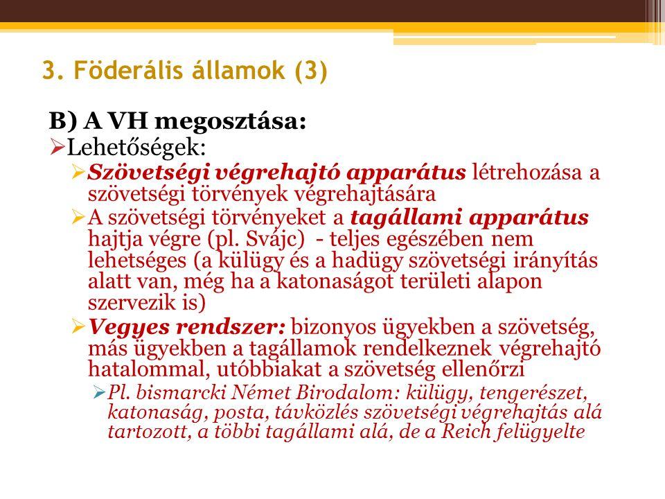 B) A VH megosztása:  Lehetőségek:  Szövetségi végrehajtó apparátus létrehozása a szövetségi törvények végrehajtására  A szövetségi törvényeket a ta