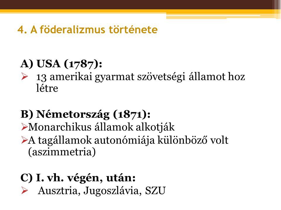 A) USA (1787):  13 amerikai gyarmat szövetségi államot hoz létre B) Németország (1871):  Monarchikus államok alkotják  A tagállamok autonómiája kül