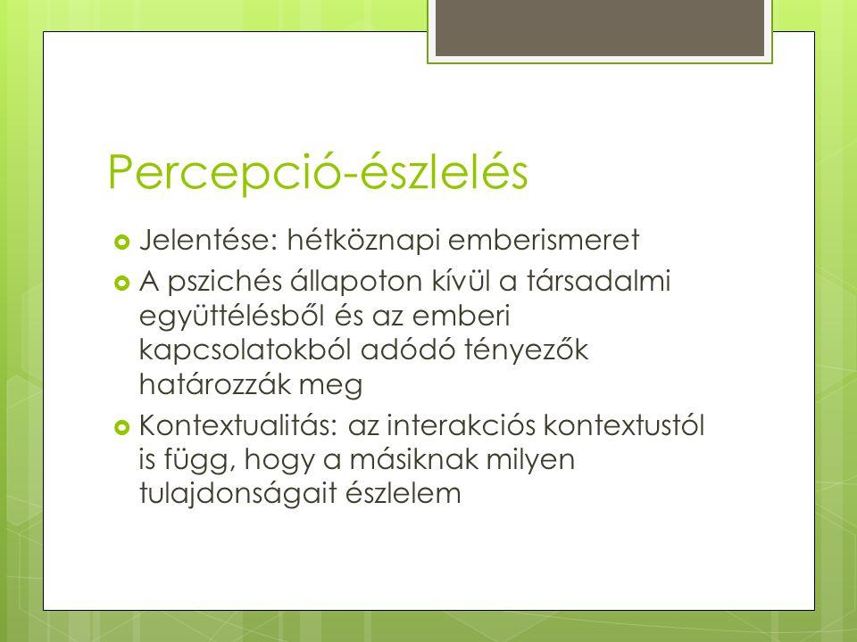 Észlelés és a kultúra Percepció elemei: I. Hit II. Attitűd III. Értékek IV. Kulturális minta