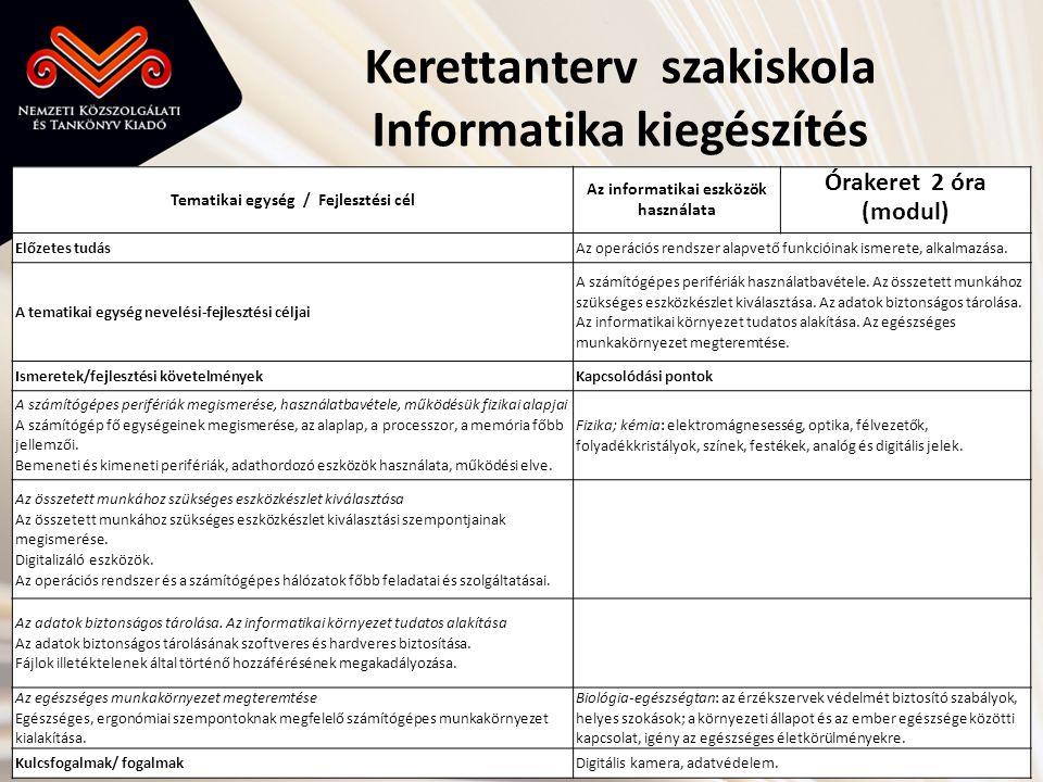 Kerettanterv szakiskola Informatika kiegészítés Tematikai egység / Fejlesztési cél Az informatikai eszközök használata Órakeret 2 óra (modul) Előzetes