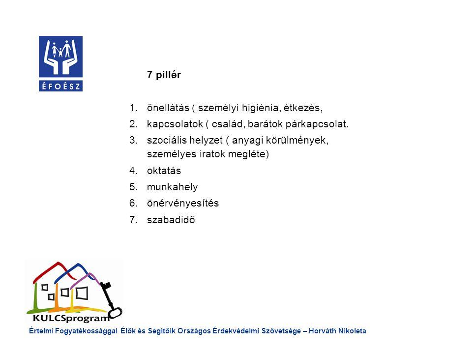 7 pillér 1.önellátás ( személyi higiénia, étkezés, 2.kapcsolatok ( család, barátok párkapcsolat.