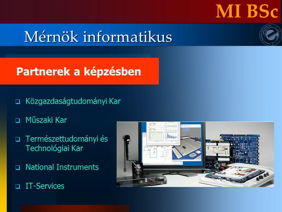Mérnök informatikus KKözgazdaságtudományi Kar MMűszaki Kar TTermészettudományi és Technológiai Kar NNational Instruments IIT-Services Partnerek a képzésben MI BSc