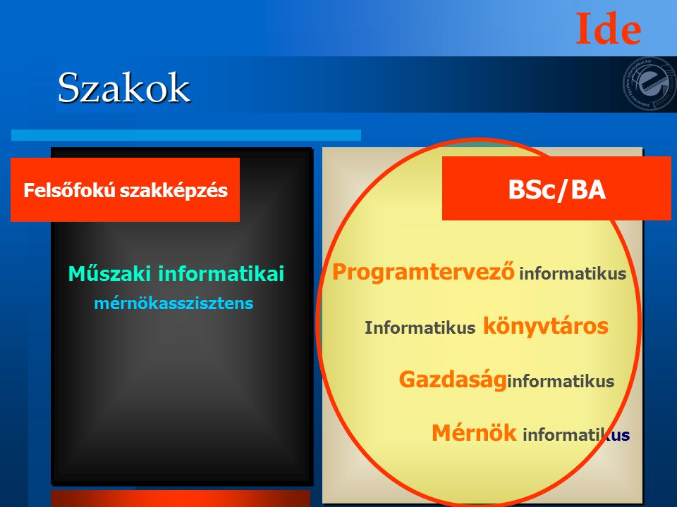 Programtervező informatikus Informatikus könyvtáros Gazdaság informatikus Mérnök informatikus Szakok Felsőfokú szakképzés Műszaki informatikai mérnöka