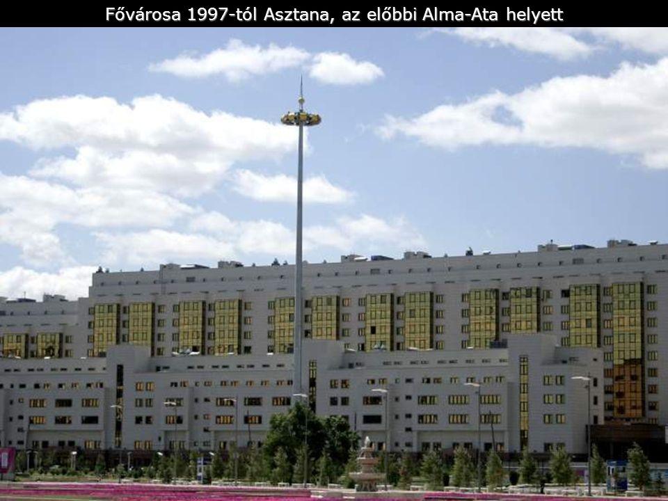 Ország hivatalos neve: Republika Kazahsztán Területe: 2 717 300 km² Lakósok száma: 16 898 572 - 1997 Főváros: Astana - (Akmola volt 1998-ig) 287 000 (1993) További városok: Almaty, Karaganda, Csimkent, Szemej, Pavlodar, Dzsambul, Aktjubinszk Pénznem: KZT - tenge = 100 tiyn Nyelvek: kazak (40%), orosz, német Közigazdasá gi elosztás: 19 megye Etnikai elosztás: Kazakok (44%), Oroszok (36%), Ukránok (5%), Németek (4%) Vallás: szunita iszlám (50%), orosz pravosláv (44%), protestáns (2%)