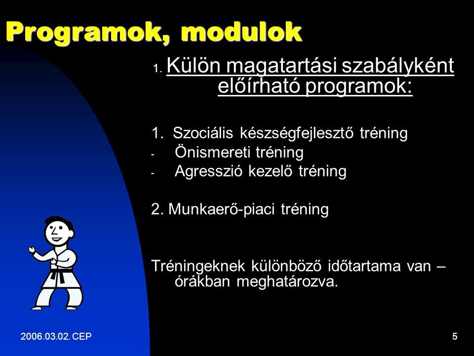 2006.03.02. CEP5 1. Külön magatartási szabályként előírható programok: 1.