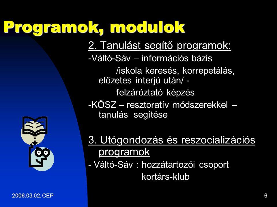 2006.03.02. CEP6 Programok, modulok 2.