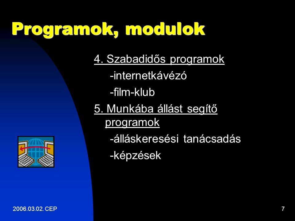 2006.03.02. CEP7 Programok, modulok 4. Szabadidős programok -internetkávézó -film-klub 5.