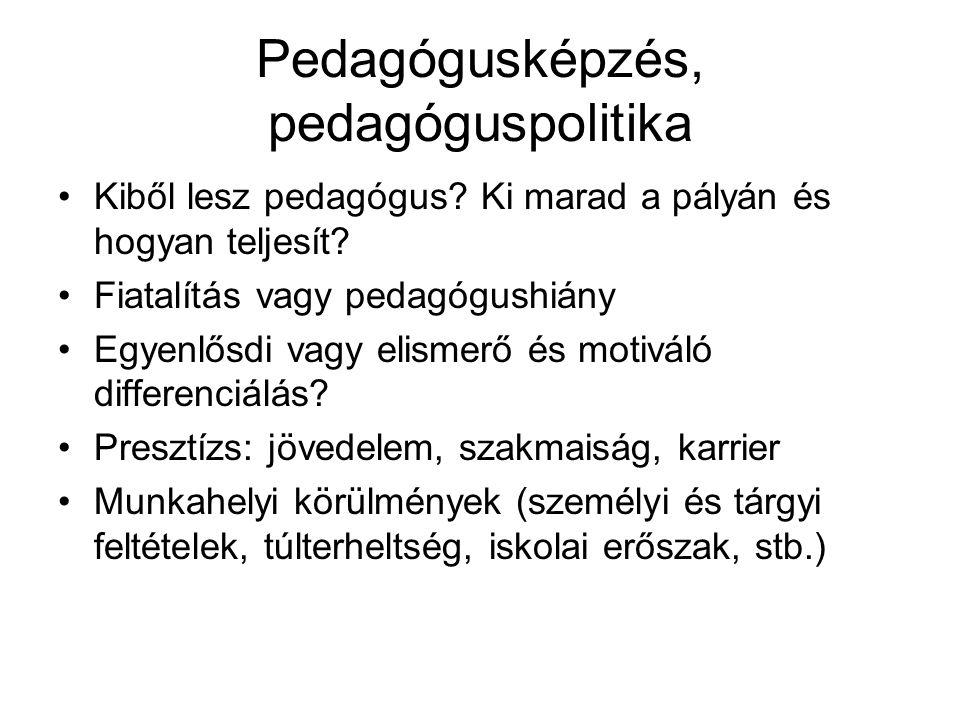 Pedagógusképzés, pedagóguspolitika •Kiből lesz pedagógus.