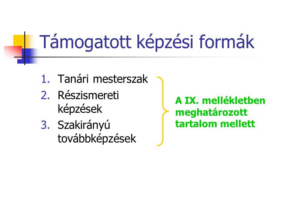 Támogatott képzési formák 1.Tanári mesterszak 2.Részismereti képzések 3.Szakirányú továbbképzések A IX.