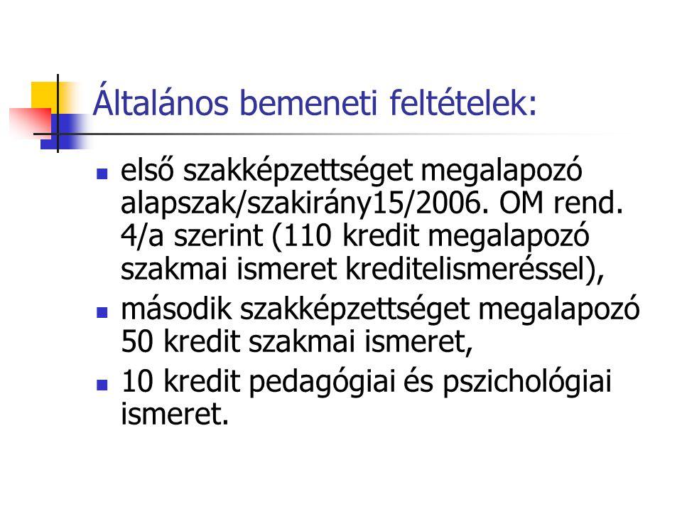 Általános bemeneti feltételek:  első szakképzettséget megalapozó alapszak/szakirány15/2006.
