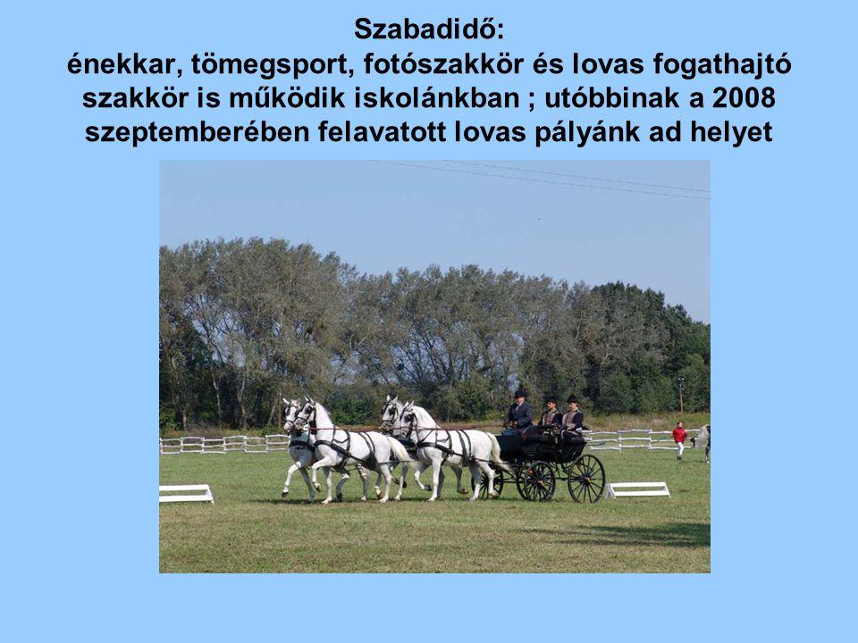 Szabadidő: énekkar, tömegsport, fotószakkör és lovas fogathajtó szakkör is működik iskolánkban ; utóbbinak a 2008 szeptemberében felavatott lovas pály