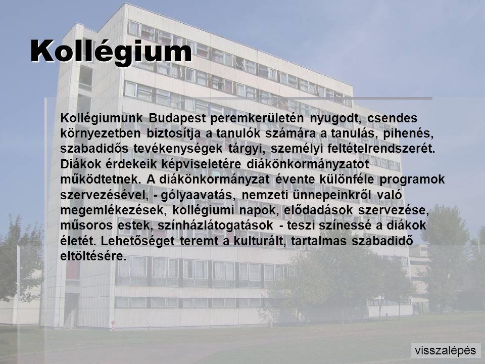 Kollégium Kollégiumunk Budapest peremkerületén nyugodt, csendes környezetben biztosítja a tanulók számára a tanulás, pihenés, szabadidős tevékenységek
