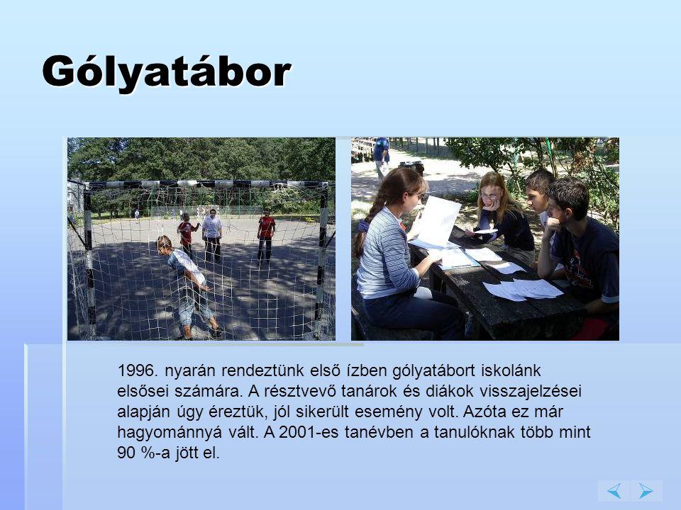 Gólyatábor 1996. nyarán rendeztünk első ízben gólyatábort iskolánk elsősei számára. A résztvevő tanárok és diákok visszajelzései alapján úgy éreztük,