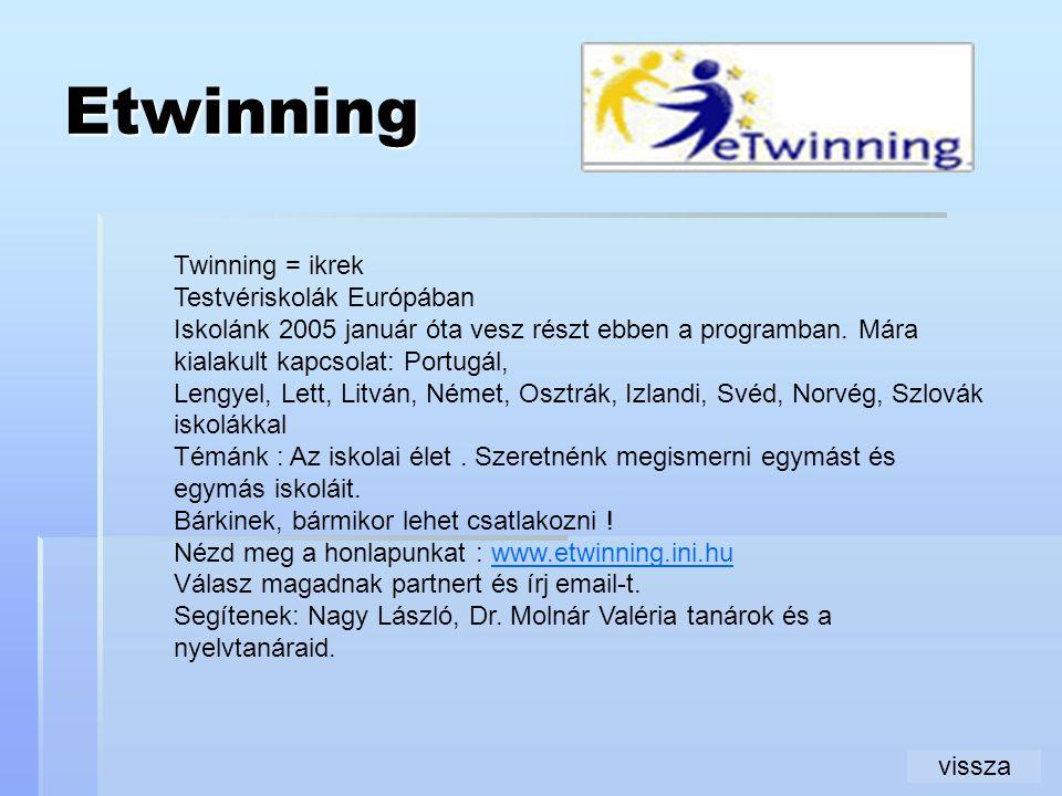 Etwinning Twinning = ikrek Testvériskolák Európában Iskolánk 2005 január óta vesz részt ebben a programban. Mára kialakult kapcsolat: Portugál, Lengye