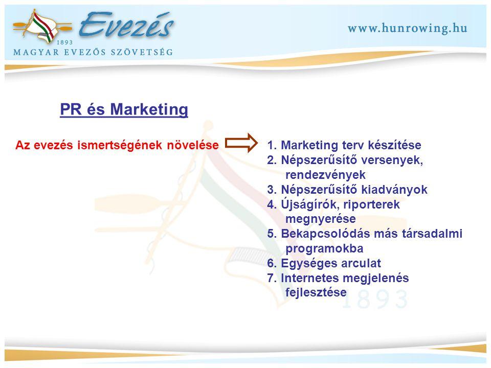 PR és Marketing Az evezés ismertségének növelése 1. Marketing terv készítése 2. Népszerűsítő versenyek, rendezvények 3. Népszerűsítő kiadványok 4. Újs