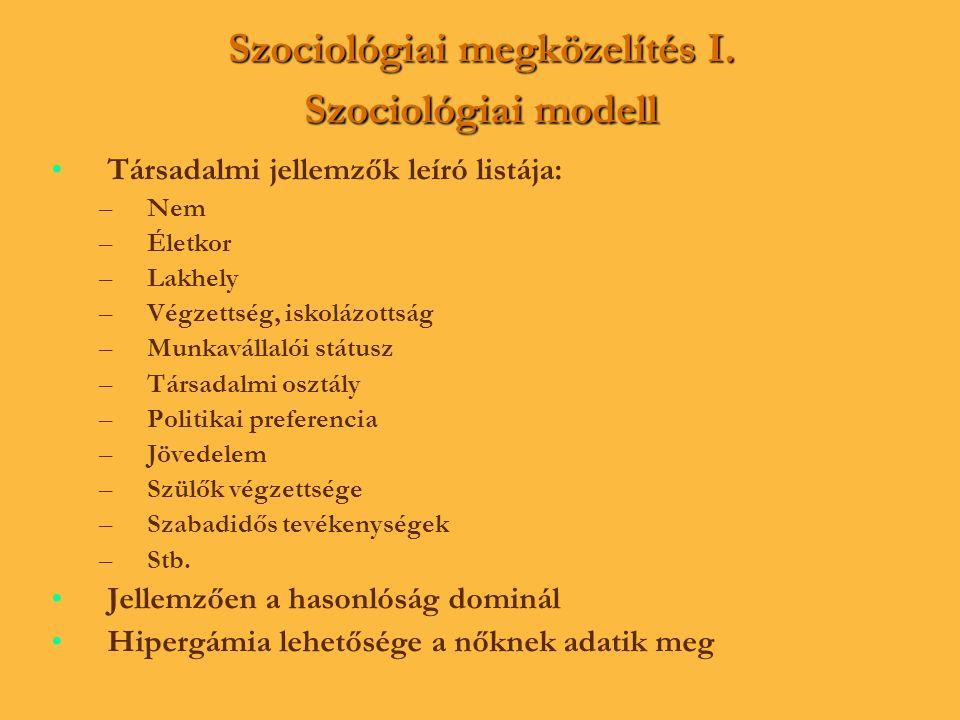 Szociológiai megközelítés I. Szociológiai modell • •Társadalmi jellemzők leíró listája: – –Nem – –Életkor – –Lakhely – –Végzettség, iskolázottság – –M