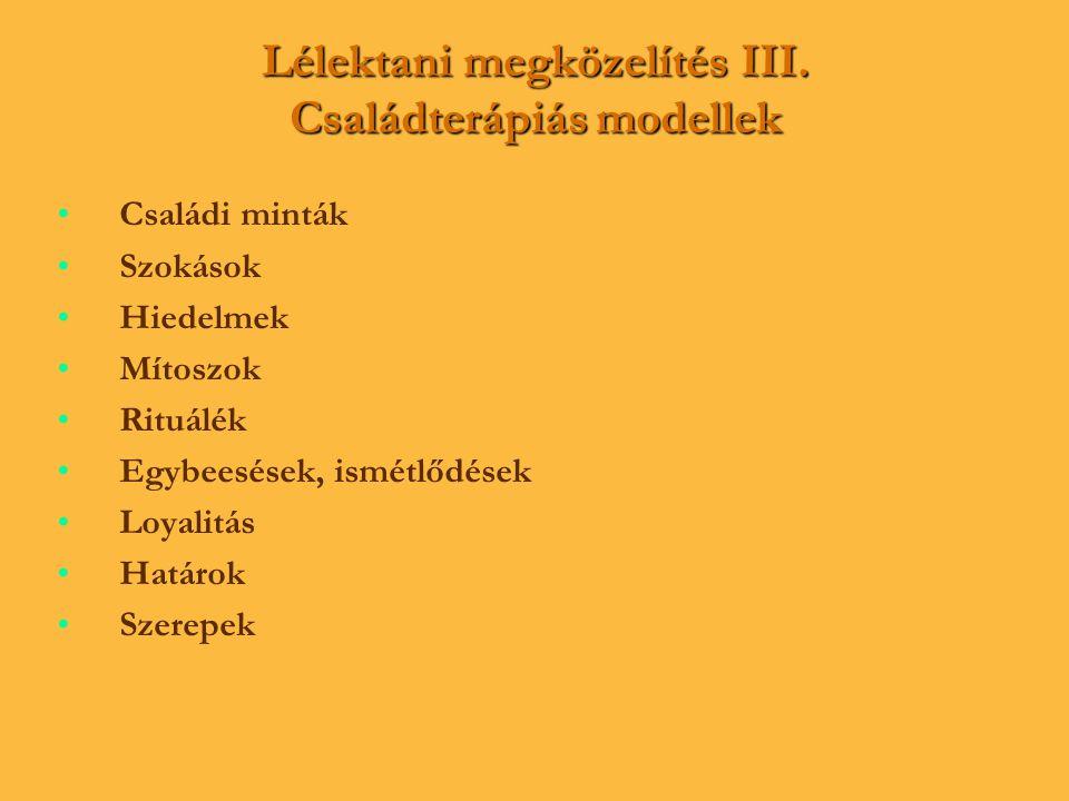 Lélektani megközelítés III. Családterápiás modellek • •Családi minták • •Szokások • •Hiedelmek • •Mítoszok • •Rituálék • •Egybeesések, ismétlődések •