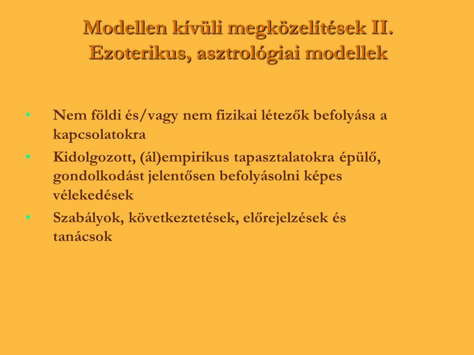 Modellen kívüli megközelítések II. Ezoterikus, asztrológiai modellek • •Nem földi és/vagy nem fizikai létezők befolyása a kapcsolatokra • •Kidolgozott