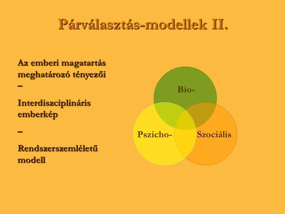 Párválasztás-modellek II. Bio- Pszicho-Szociális Az emberi magatartás meghatározó tényezői – Interdiszciplináris emberkép – Rendszerszemléletű modell