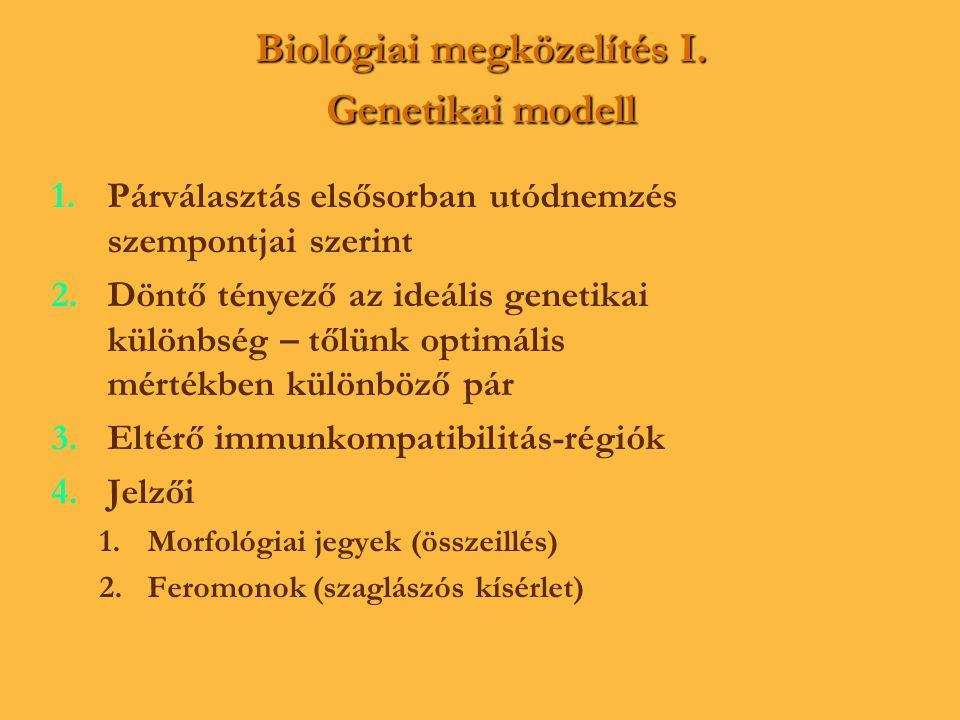 Biológiai megközelítés I. Genetikai modell 1. 1.Párválasztás elsősorban utódnemzés szempontjai szerint 2. 2.Döntő tényező az ideális genetikai különbs