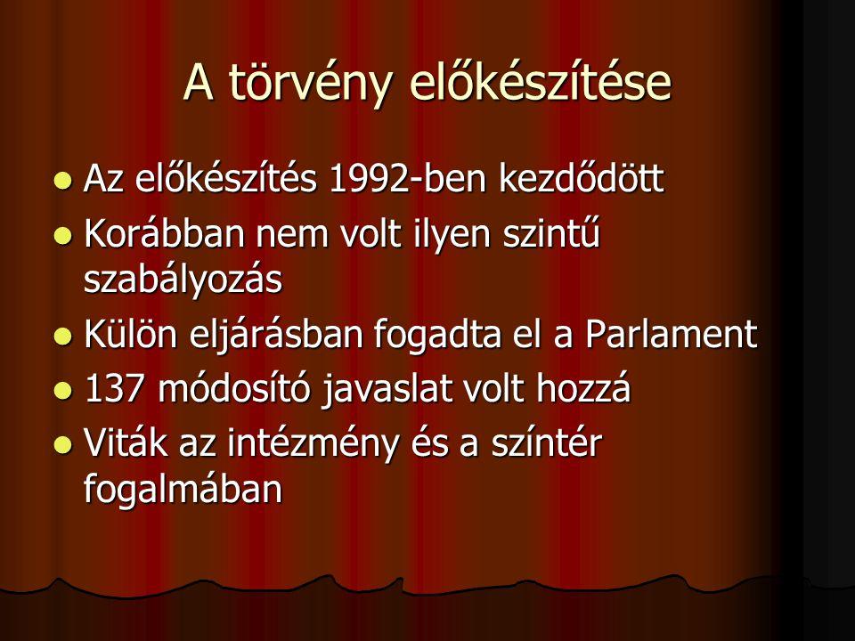 A törvény előkészítése  Az előkészítés 1992-ben kezdődött  Korábban nem volt ilyen szintű szabályozás  Külön eljárásban fogadta el a Parlament  13