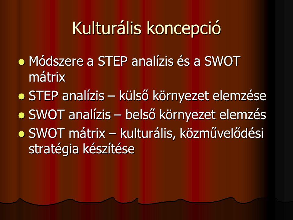Kulturális koncepció  Módszere a STEP analízis és a SWOT mátrix  STEP analízis – külső környezet elemzése  SWOT analízis – belső környezet elemzés