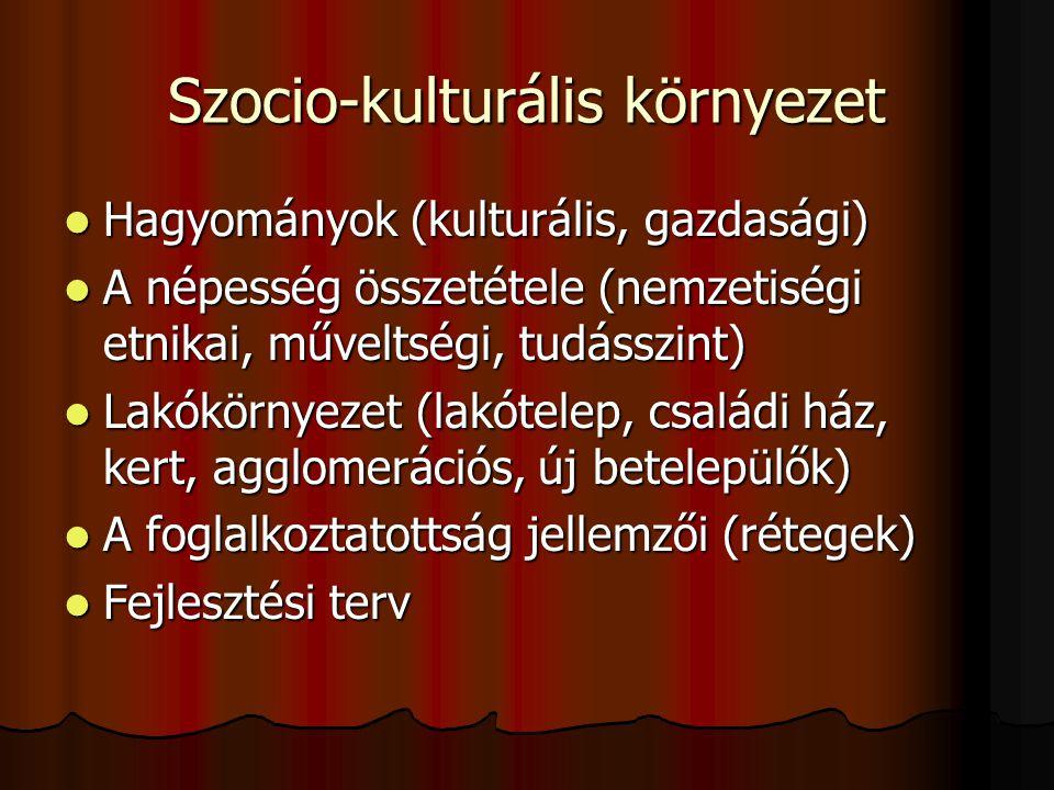 Szocio-kulturális környezet  Hagyományok (kulturális, gazdasági)  A népesség összetétele (nemzetiségi etnikai, műveltségi, tudásszint)  Lakókörnyez