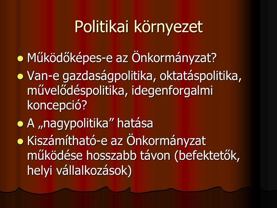 """Politikai környezet  Működőképes-e az Önkormányzat?  Van-e gazdaságpolitika, oktatáspolitika, művelődéspolitika, idegenforgalmi koncepció?  A """"nagy"""
