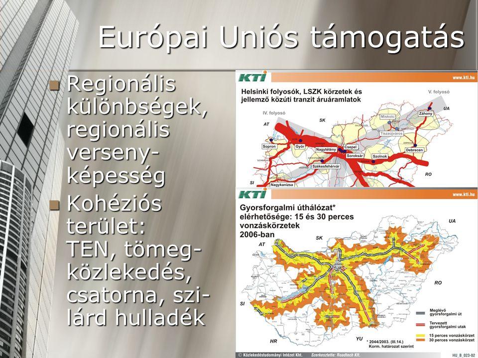 Európai Uniós támogatás  Regionális különbségek, regionális verseny- képesség  Kohéziós terület: TEN, tömeg- közlekedés, csatorna, szi- lárd hulladék