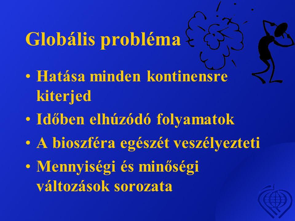 Globális probléma •Hatása minden kontinensre kiterjed •Időben elhúzódó folyamatok •A bioszféra egészét veszélyezteti •Mennyiségi és minőségi változáso