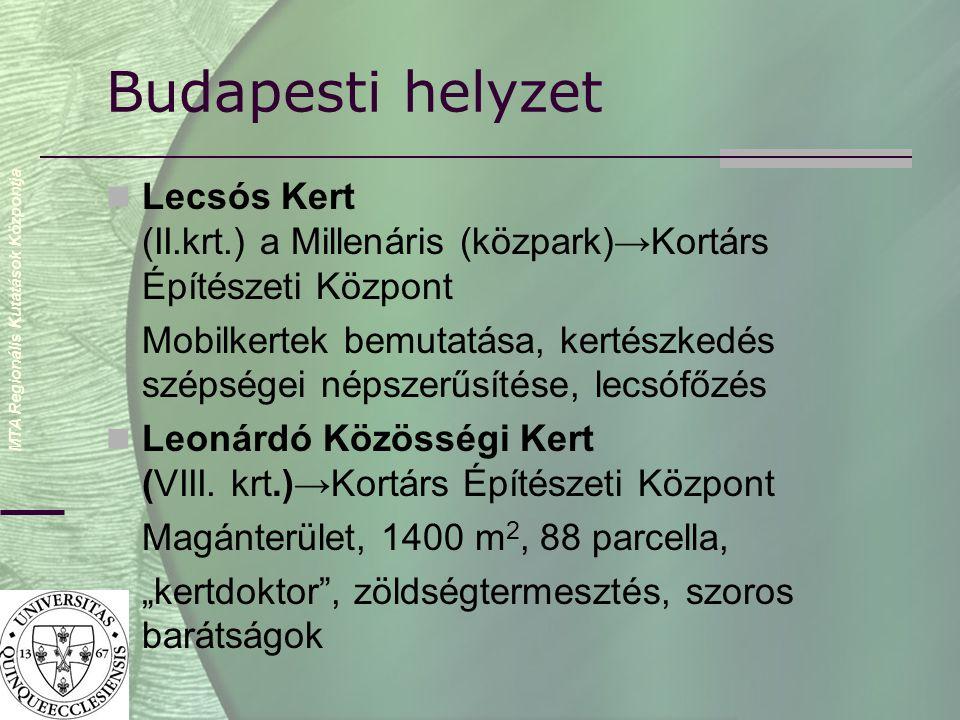 MTA Regionális Kutatások Központja Budapesti helyzet  Lecsós Kert (II.krt.) a Millenáris (közpark)→Kortárs Építészeti Központ Mobilkertek bemutatása, kertészkedés szépségei népszerűsítése, lecsófőzés  Leonárdó Közösségi Kert (VIII.