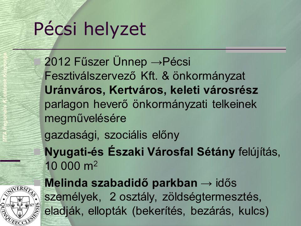 MTA Regionális Kutatások Központja Pécsi helyzet  2012 Fűszer Ünnep →Pécsi Fesztiválszervező Kft.