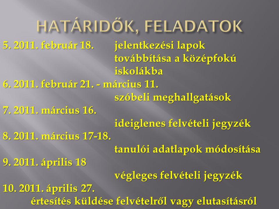5. 2011. február 18. jelentkezési lapok továbbítása a középfokú iskolákba 6. 2011. február 21. - március 11. szóbeli meghallgatások 7. 2011. március 1