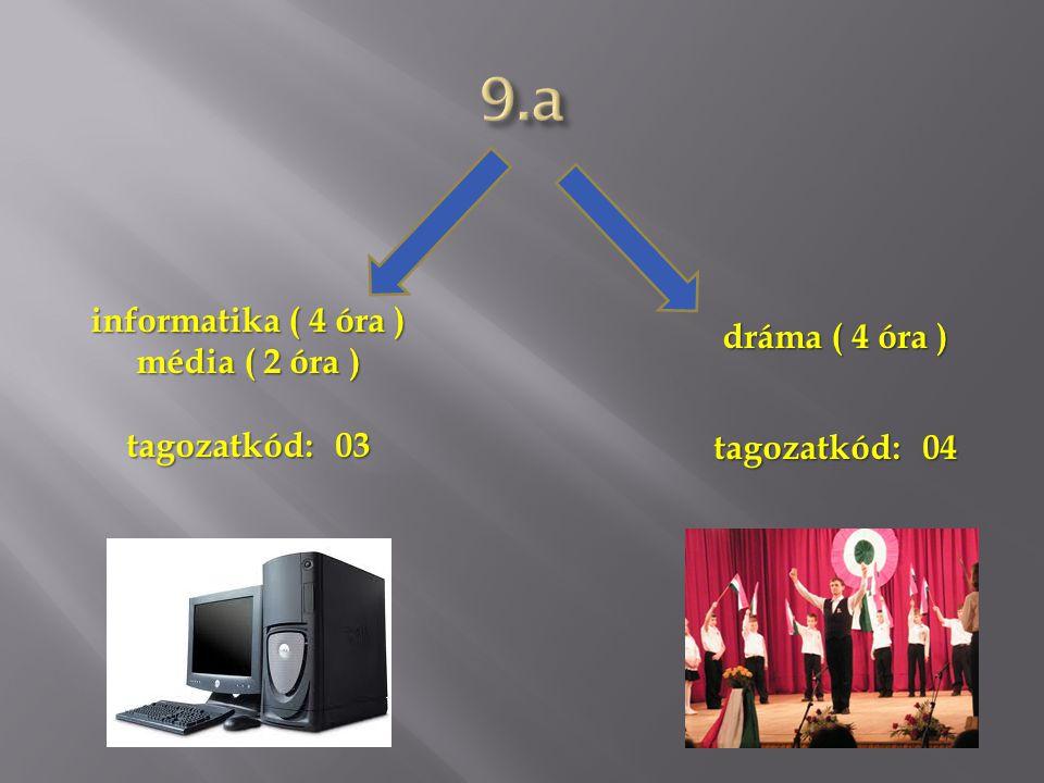 informatika ( 4 óra ) média ( 2 óra ) tagozatkód:03 dráma ( 4 óra ) tagozatkód:04