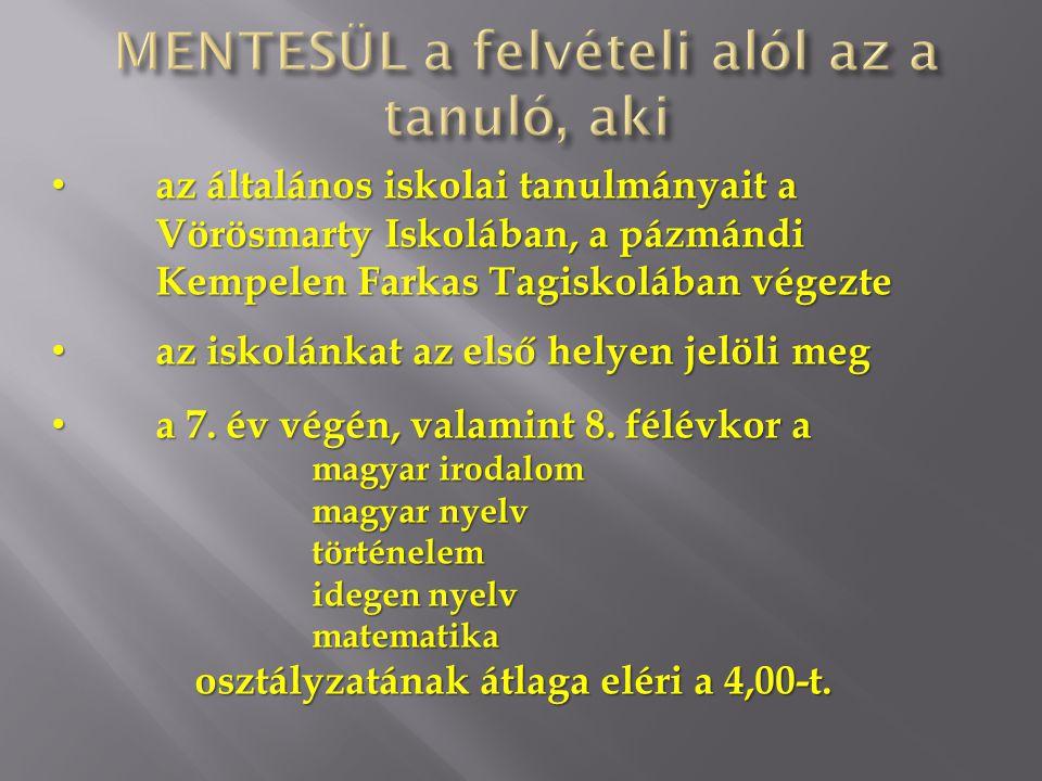 • az általános iskolai tanulmányait a Vörösmarty Iskolában, a pázmándi Kempelen Farkas Tagiskolában végezte • az iskolánkat az első helyen jelöli meg • a 7.
