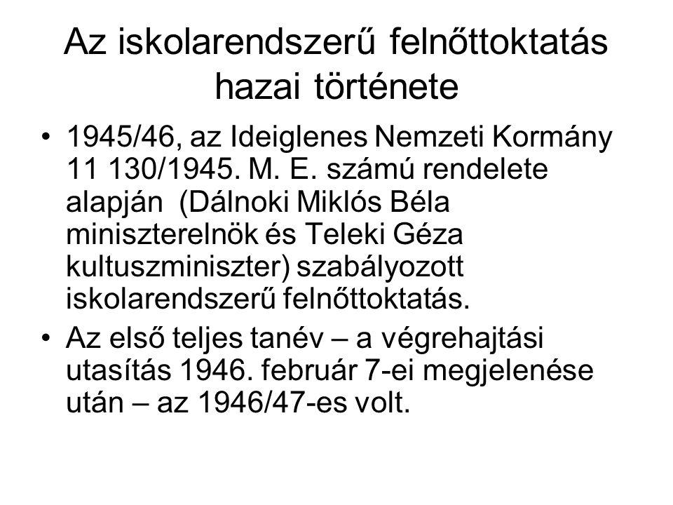 Az iskolarendszerű felnőttoktatás hazai története •1945/46, az Ideiglenes Nemzeti Kormány 11 130/1945.
