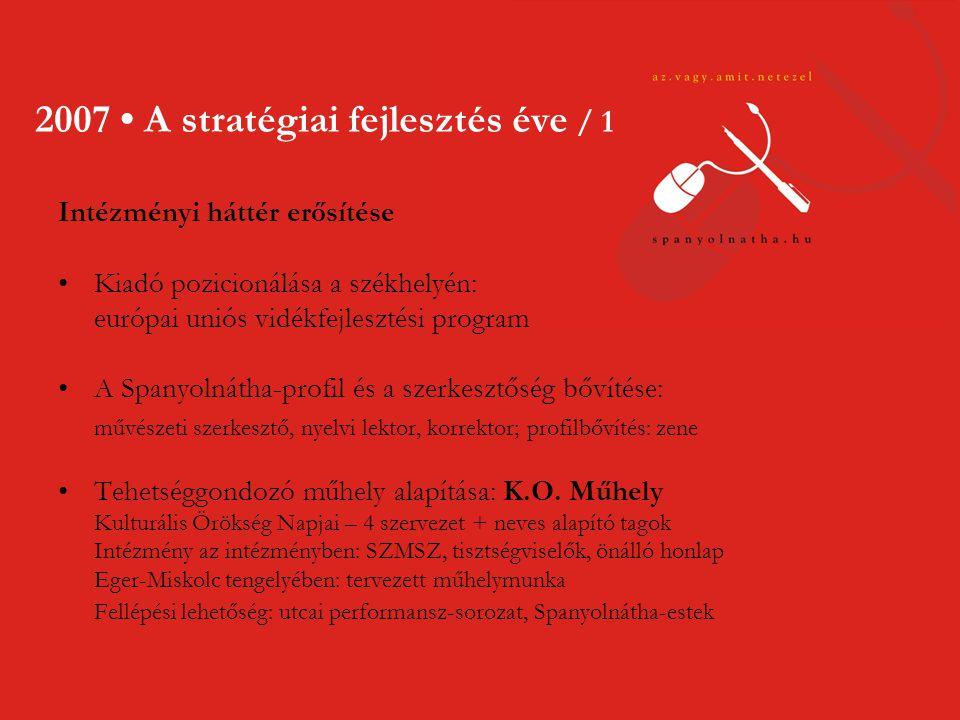 2007 • A stratégiai fejlesztés éve / 2 Céltudatos marketingtevékenység •hírlevél (7.500 feliratkozás) •médiaszereplések: a legismertebb országos médiumok •médiapartnere jelentős kortárs művészeti seregszemléknek offline •Kaleidoszkóp Versfesztivál – Budapest •XIX.