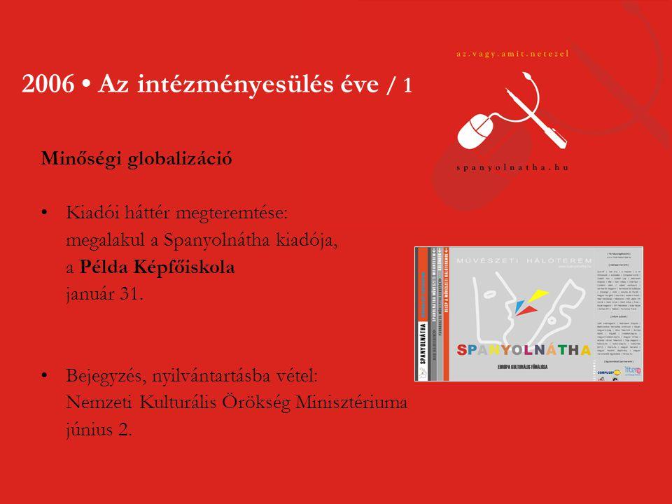 2006 • Az intézményesülés éve / 1 Minőségi globalizáció •Kiadói háttér megteremtése: megalakul a Spanyolnátha kiadója, a Példa Képfőiskola január 31.