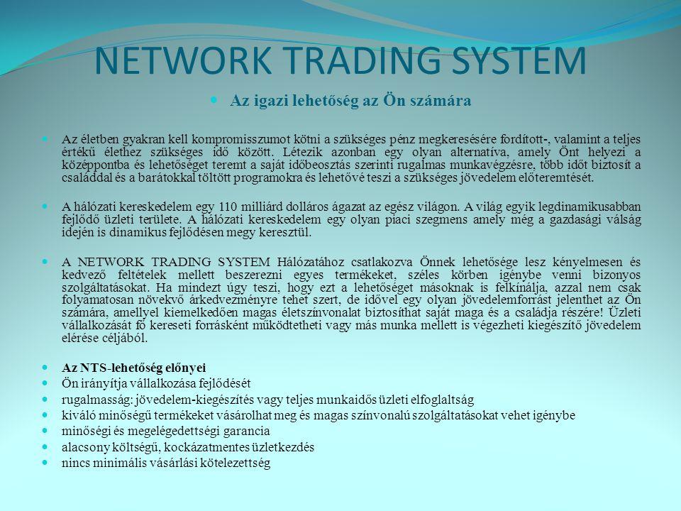 NETWORK TRADING SYSTEM  Az igazi lehetőség az Ön számára  Az életben gyakran kell kompromisszumot kötni a szükséges pénz megkeresésére fordított-, valamint a teljes értékű élethez szükséges idő között.