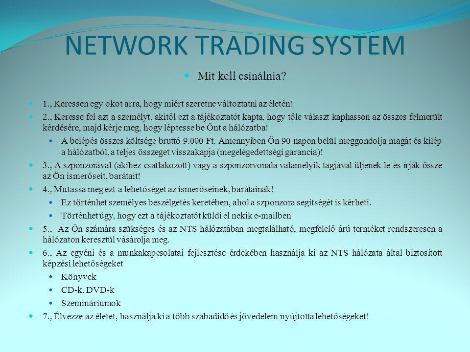 NETWORK TRADING SYSTEM  Mit kell csinálnia.