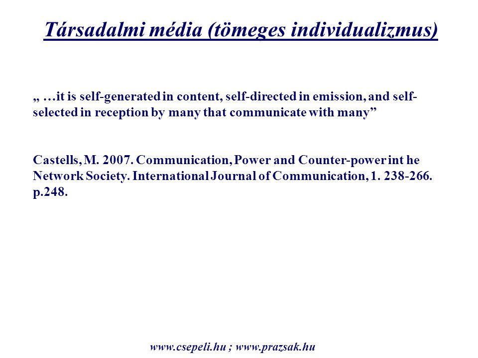 Individualizmus – etatizmus és internetezés Individualizmus – etatizmus főkomponens score átlagok Nem internetezik0,2 Internetezik-0,25 eta² 0,05 ; F próba szig.